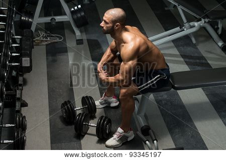 Healthy Young Man Resting In Health Club