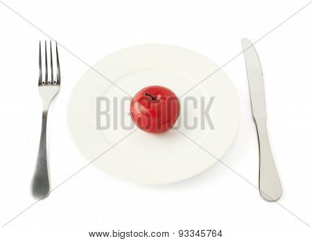 Apple fruit in a plate isolated
