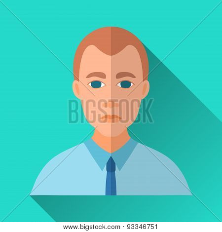 Businessman In Blue Shirt, Square Flat Icon
