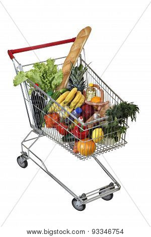 Filled Food Shopping Trolley Isolated On White Background, No Body