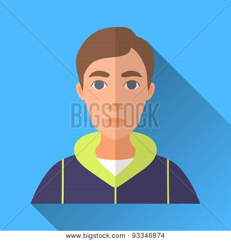 Young Man In Sport Jacket, Square Flat Icon