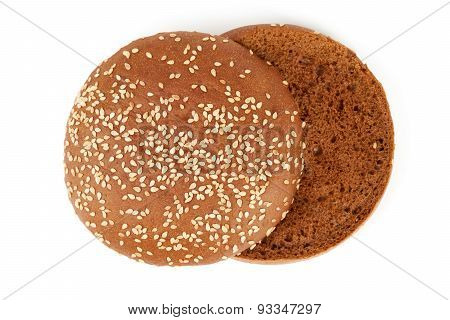 Upper View On Sliced Bun For Hamburger