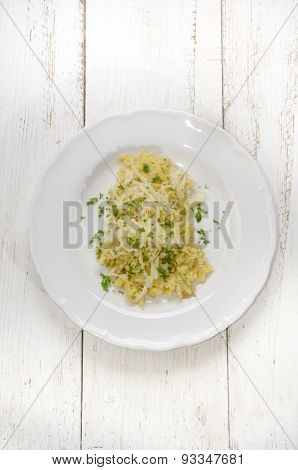 Spaetzle With Melted Cheese On A Plate