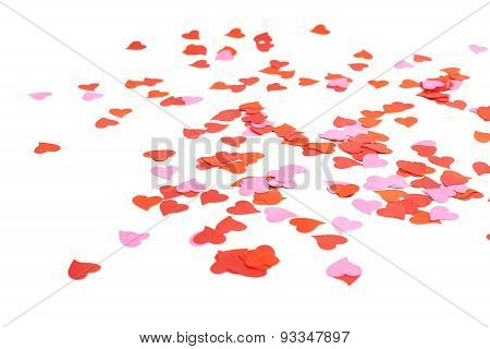 Heart shaped confetti composition