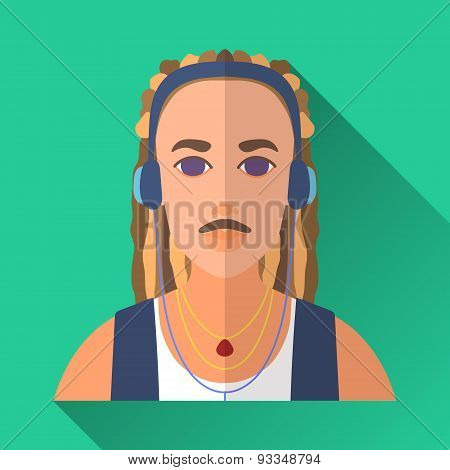 Music Lover With Dreadlocks In Headphones, Square Flat Icon