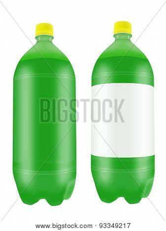 Green Soda Drink In Two Liter Plastic Bottles.