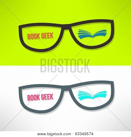 Vector book geek idea with glasses and book. Learning and reading concept