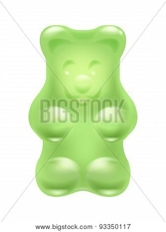 Colorful realistic gummy bear chewing candy.