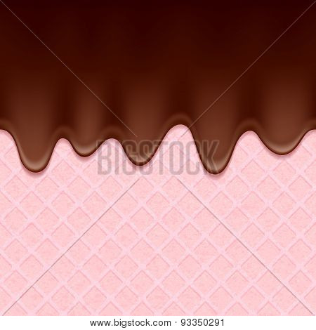 Pink wafer and flowing chocolate - vector background.