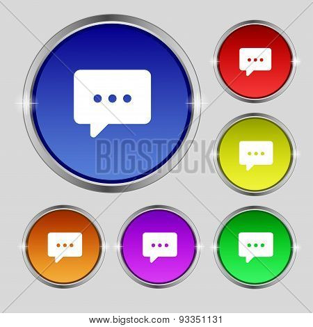 Cloud Of Thoughts Icon Sign. Round Symbol On Bright Colourful Buttons. Vector