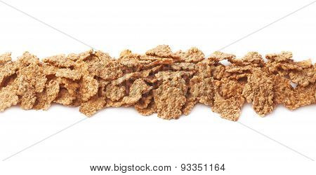 Whole grain cereal flakes isolated
