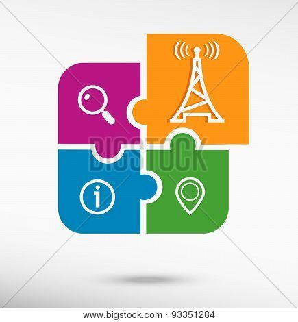 Transmitter Icon On Colorful Jigsaw Puzzle