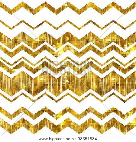 Golden mosaic zig zag abstract background.