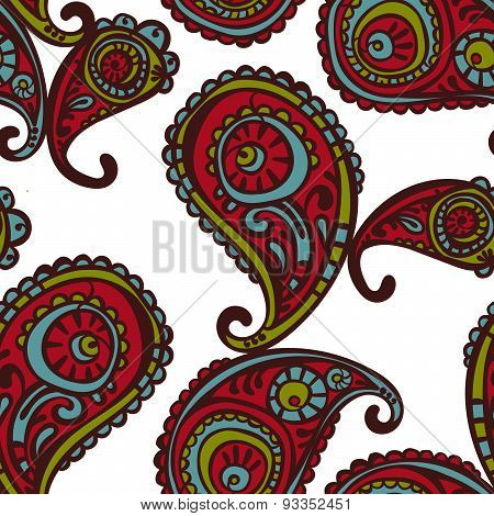 Paisley. Endless pattern with paisley. Seamless background. Vector seamless illustration.