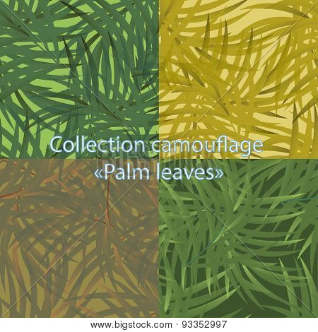 Seamless pattern camouflage with palm leaves