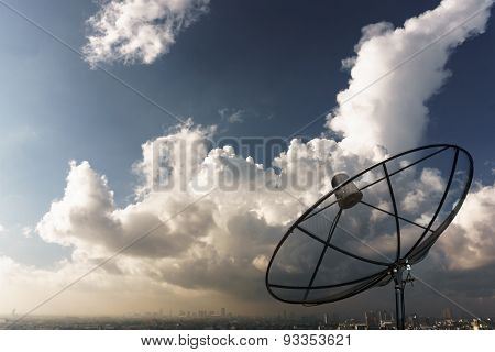 Connecting Telecommunication By Satellite Dish