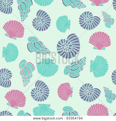 Seamless vector seashell pattern