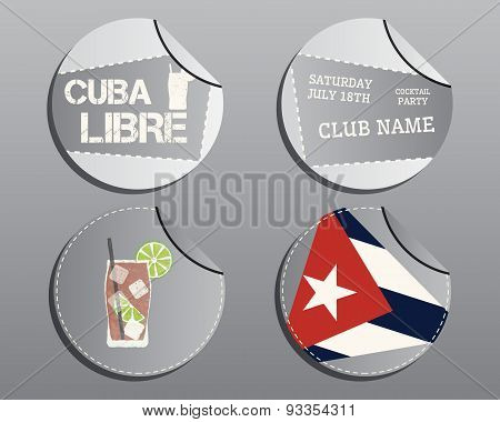 Summer Cocktail Party Badges And Labels Layout Template With Cuba Flag And Cuba Libre Cocktail. Fres