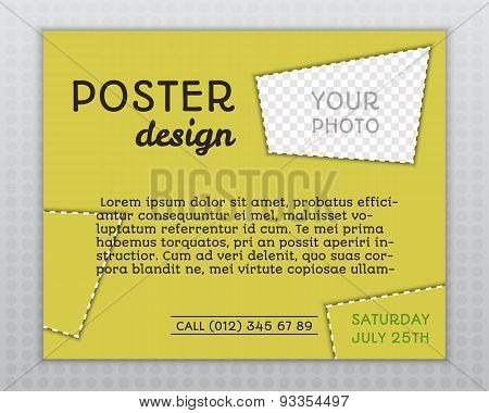 Summer Yellow Stylish Poster Invitation Template With Unusual Design. Corporate Identity. Isolated O