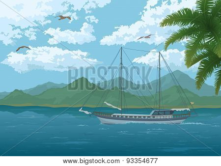 Sea Landscape with Ship, Mountains and Birds