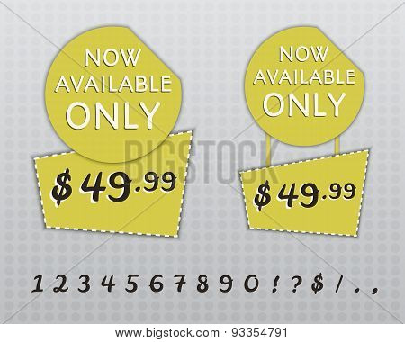Sale Stickers And Labels With Now Avaliable Only Text And 0-9 Figures On Yellow Circle Stickers And