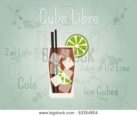 Cuba Libre Cocktail Banner And Poster Template With Ingredients. Summer Stylish Design. Isolated On