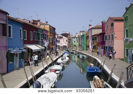 Beautiful coloured houses on the Venetian Island of Burano on a sunny day