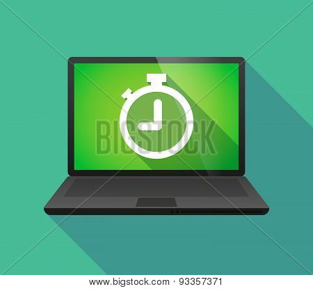 Laptop Icon With A Timer