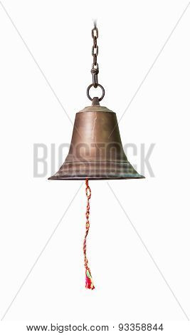 Single Bell On White Isolate Background For Decorate Project.