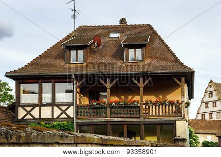 Typical Alsacien House In Small Village, Bas-rhin
