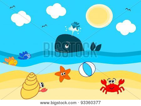 summertime on the beach funny cartoon illustration