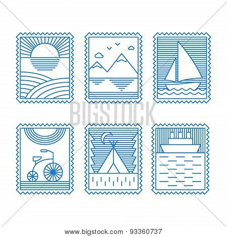 Set Of Line Art Illustrations For Travel Or Tourism. Thin Line Graphic Design