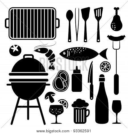Set Of Barbecue Food And Utensils Black Icons, Isolated Vector
