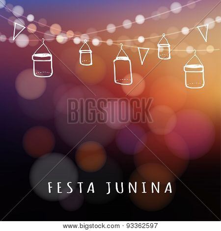Brazilian June Party, Midsummer Celebration, Summer Garden Party, Vector