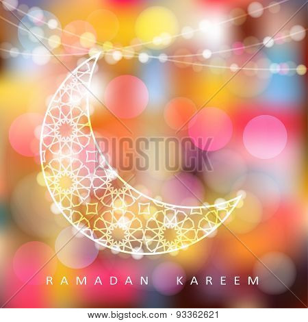 Ornamental Moon With Bokeh Lights, Ramadan Vector