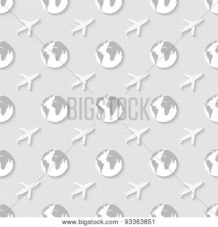 Pattern with globe and airplane.