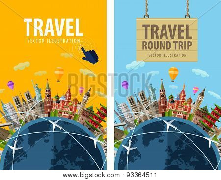 travel, journey, trip vector logo design template. vacation or countries of the world icon.