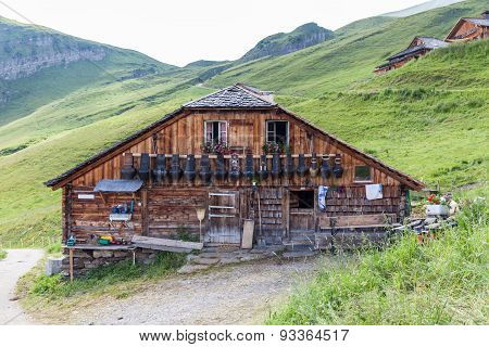 Traditional Chalet In Swiss Alps