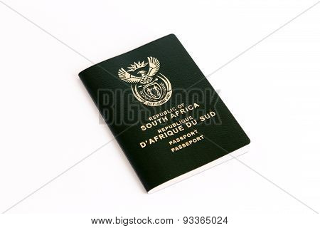 South African Passport On White Background