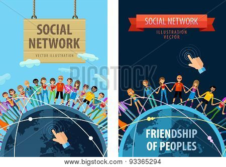 social network vector logo design template. friendship or people, folk icon.