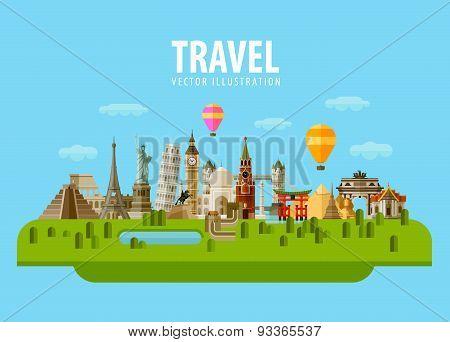travel. set of elements - tower bridge, big Ben, statue of liberty, Kremlin, Taj Mahal, Mexican pyra