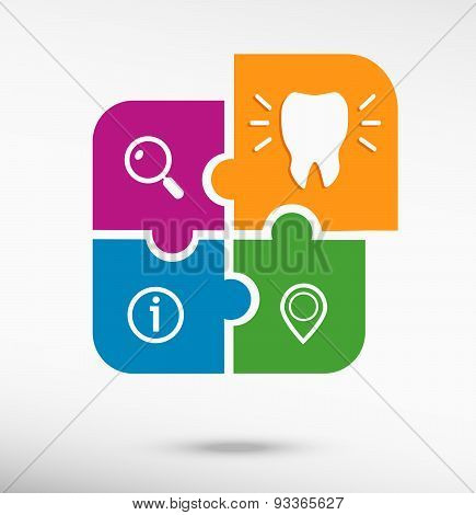 Tooth Icon On Colorful Jigsaw Puzzle