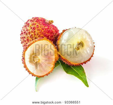 Lychee Fruit On White Background.