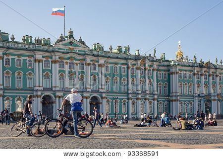 People on Palace Square in Saint Petersburg