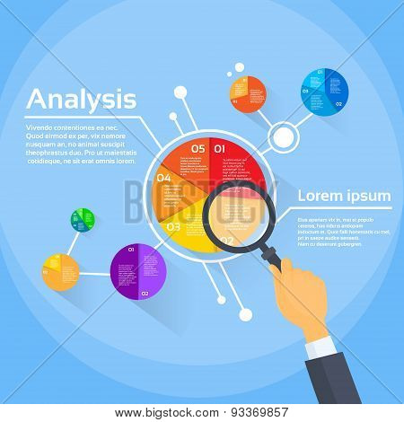 Magnifying Glass Businessman Hand Analysis Finance Pie Diagram