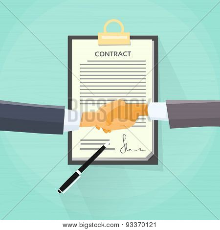 Handshake Businessman Contract Sign Up Paper Document