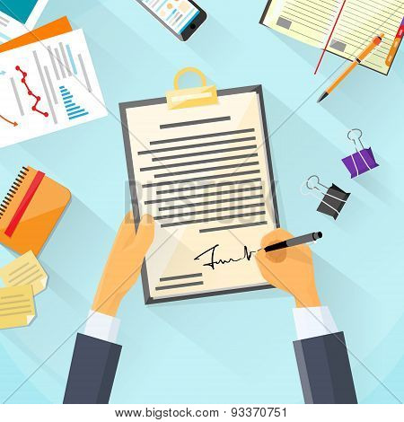 Business Man Signature Document Signing Up Contract, Businessman Sign Agreement Office Desk
