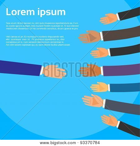 Handshake One Person Choose Partners Business People Group Hands Shake