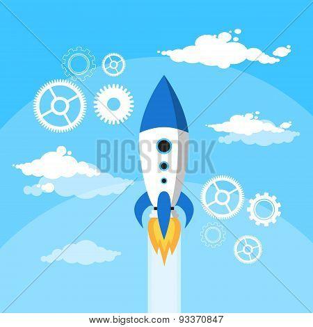Rocket Fly Blue Sky Clouds Flat Vector