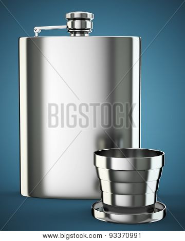 Metall Hip Flask With Cup
